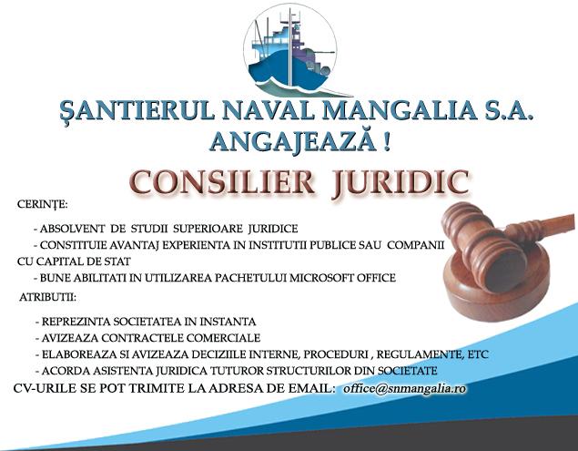 Angajare consilier juridic